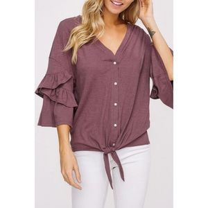 Listicle Purple Front Tie Button-Down